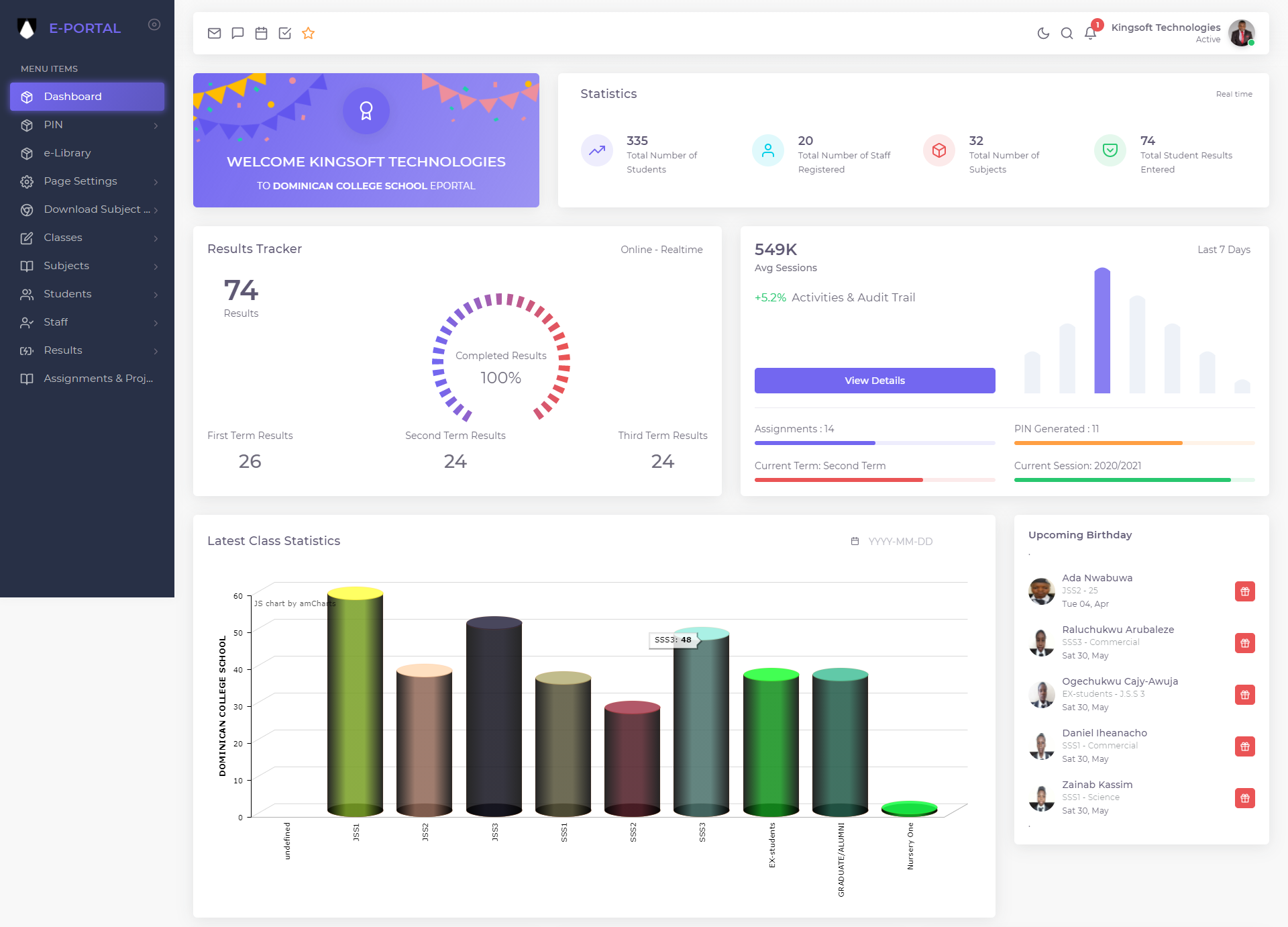 SCHOOL MANAGEMENT SOFTWARE DASHBOARD